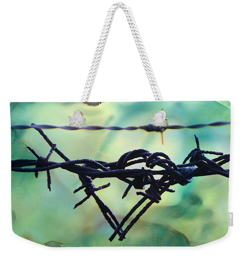 Barbed; Wire; Barbed Wire; Barb; Heart; Rage; Anger; Red; Yellow; Love; Romance; Relationships; Art; Fineart; Lesafine; Lesa Fine; Huntsville; Alabama; Metal; Wire; Rust; Rusty; Textured; Textures; Texture; Fence; Fencing; Sharp; Pointy; Pointed; Point; Weekender Tote Bag featuring the photograph Barbed Wire Love-jealousy 2 by Lesa Fine