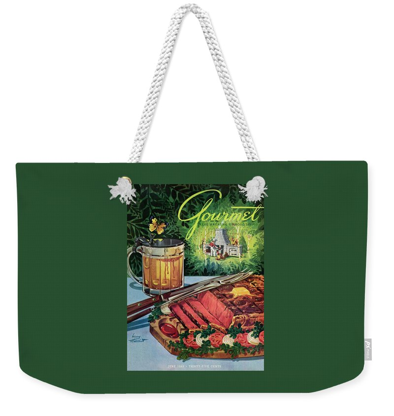 Food Weekender Tote Bag featuring the photograph Barbeque Meat And A Mug Of Beer by Henry Stahlhut