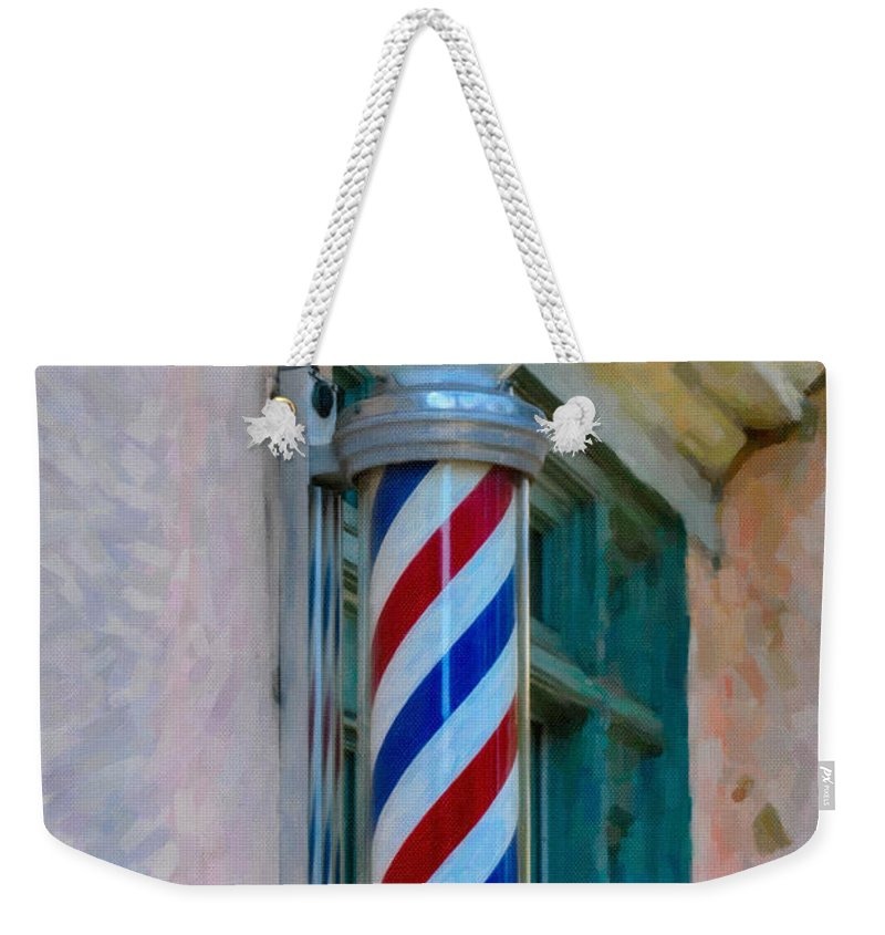 Barber Pole Weekender Tote Bag featuring the digital art Barber Pole by Dale Powell