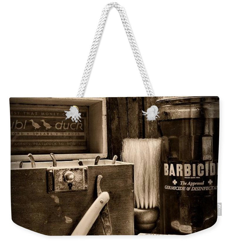 Paul Ward Weekender Tote Bag featuring the photograph Barber - Vintage Barber Tools - Black And White by Paul Ward