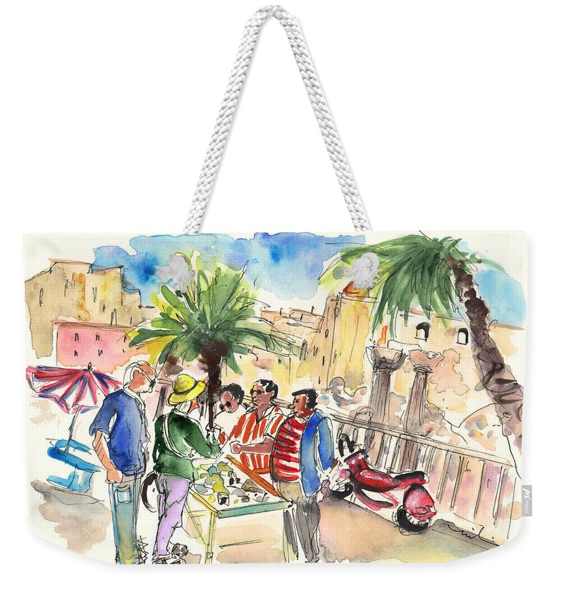 Travel Weekender Tote Bag featuring the painting Bargaining Tourists In Siracusa by Miki De Goodaboom