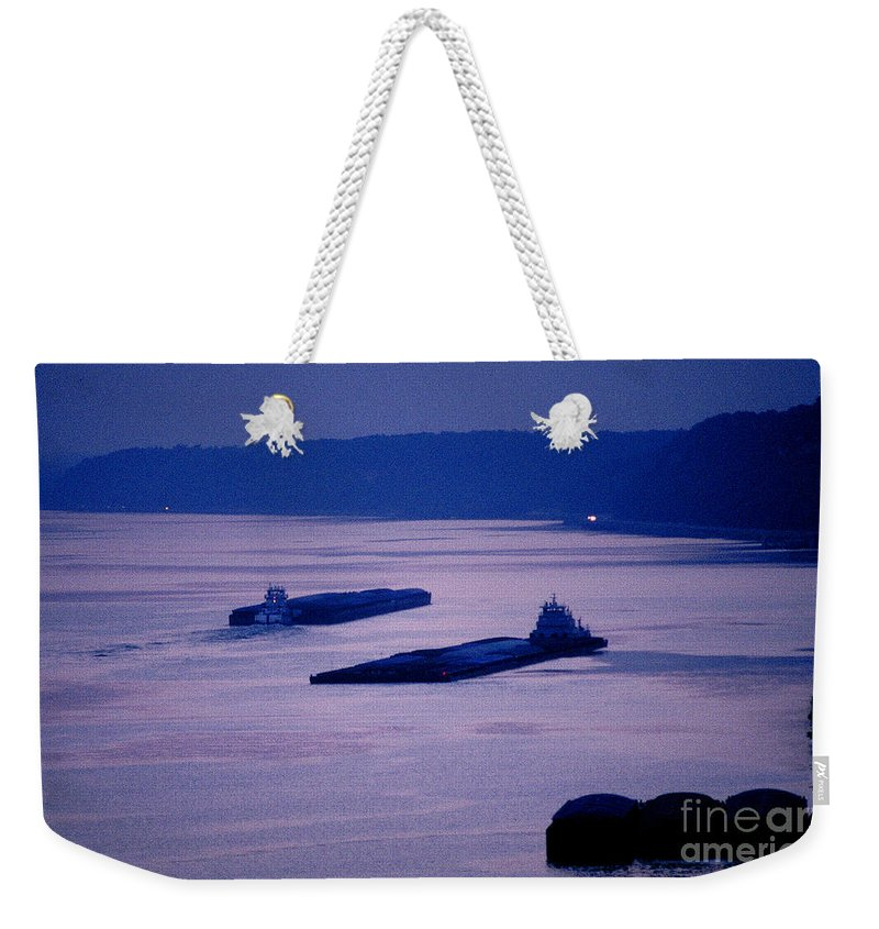 Barges Weekender Tote Bag featuring the photograph Barges On The Mississippi by Garry McMichael