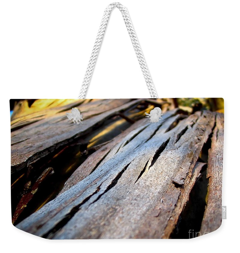 Macro Weekender Tote Bag featuring the photograph Bark Texture by Tim Hester