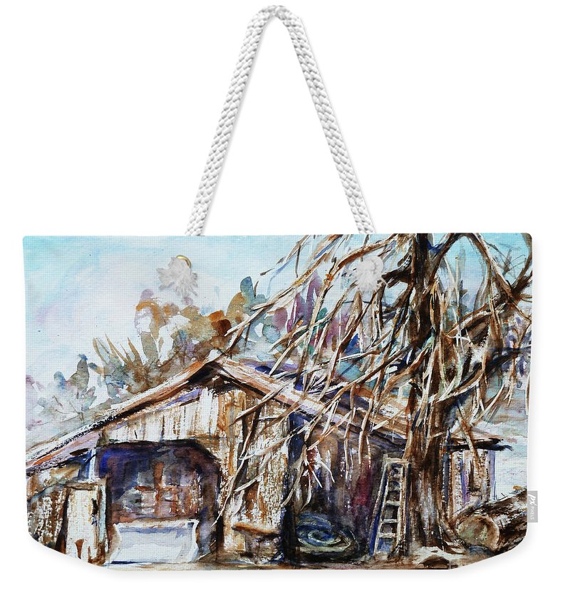 Barn Weekender Tote Bag featuring the painting Barn By The Tree by Xueling Zou