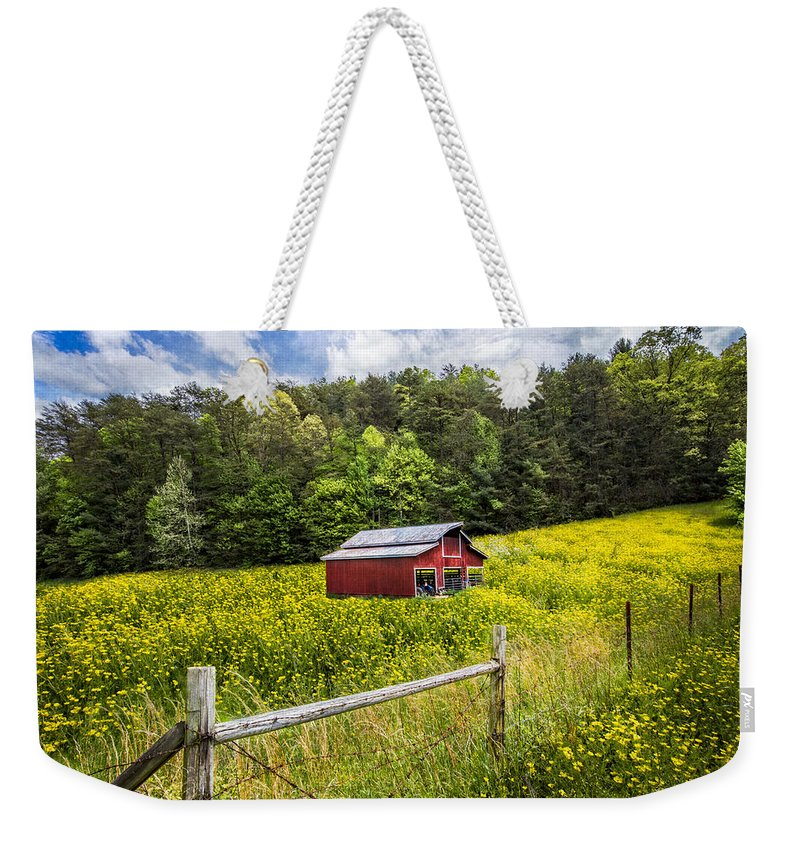 Appalachia Weekender Tote Bag featuring the photograph Barn In The Meadow by Debra and Dave Vanderlaan