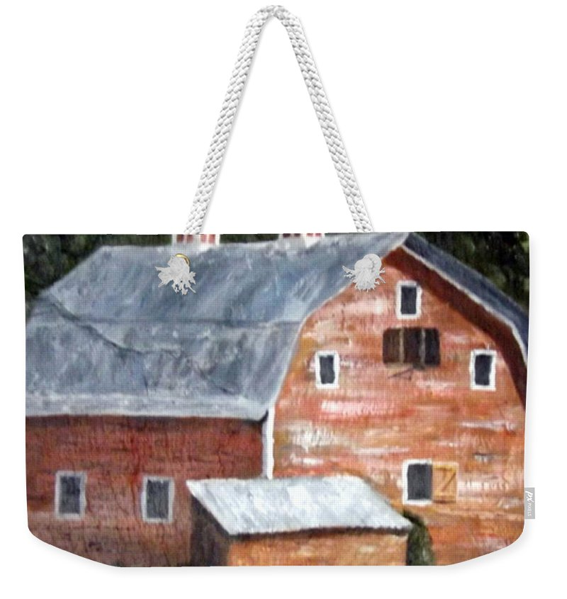 Barn Weekender Tote Bag featuring the painting Barn On Va Creeper Trail by Gino Didio