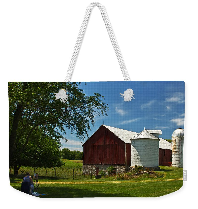 Landscape Photographs Weekender Tote Bag featuring the photograph Barn Painting by Guy Shultz