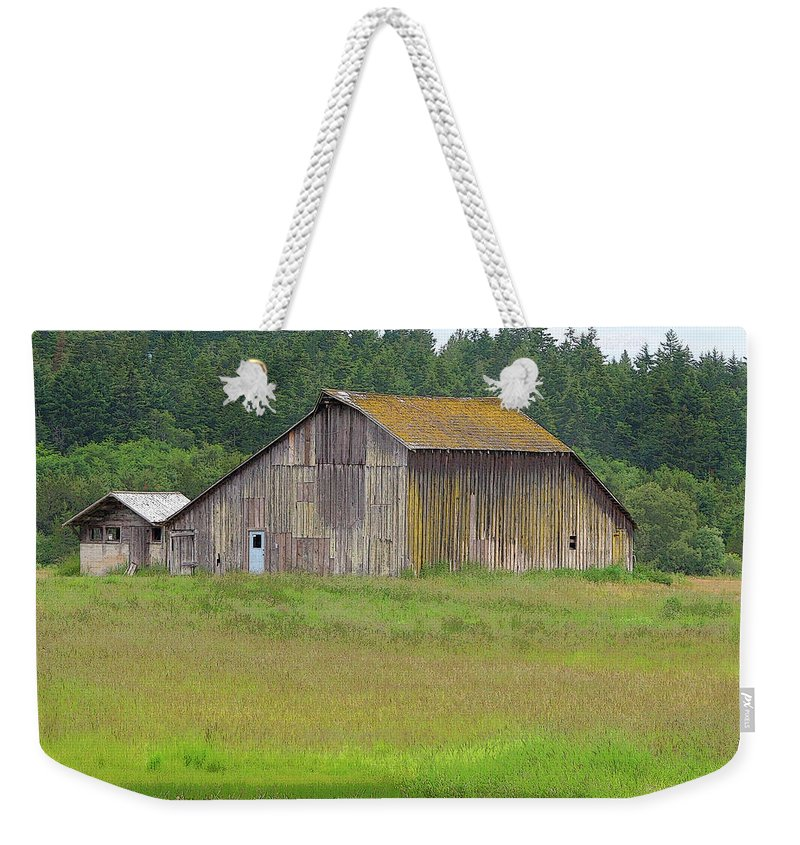 San Juan Island Weekender Tote Bag featuring the photograph Barn Reflection by Art Block Collections