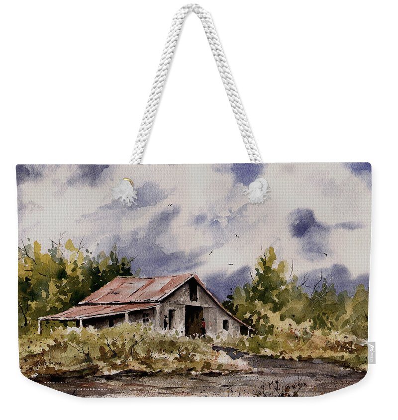 Barn Weekender Tote Bag featuring the painting Barn Under Puffy Clouds by Sam Sidders