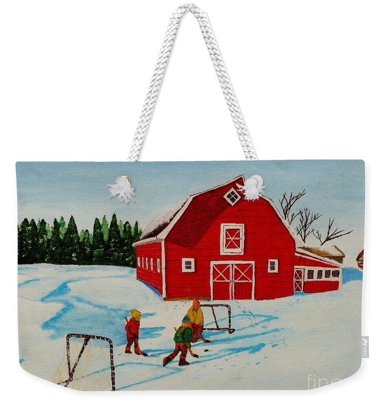 Hockey Weekender Tote Bag featuring the painting Barn Yard Hockey by Anthony Dunphy