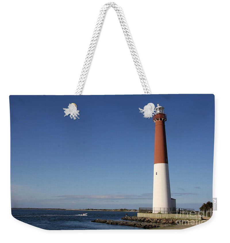 Barnegat Lighthouse Weekender Tote Bag featuring the photograph Barnegat Inlet And Light by Christiane Schulze Art And Photography