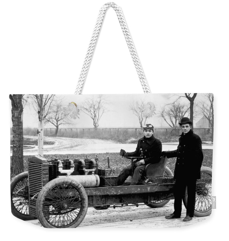 1900's Weekender Tote Bag featuring the photograph Barney Oldfield And Henry Ford by Underwood Archives