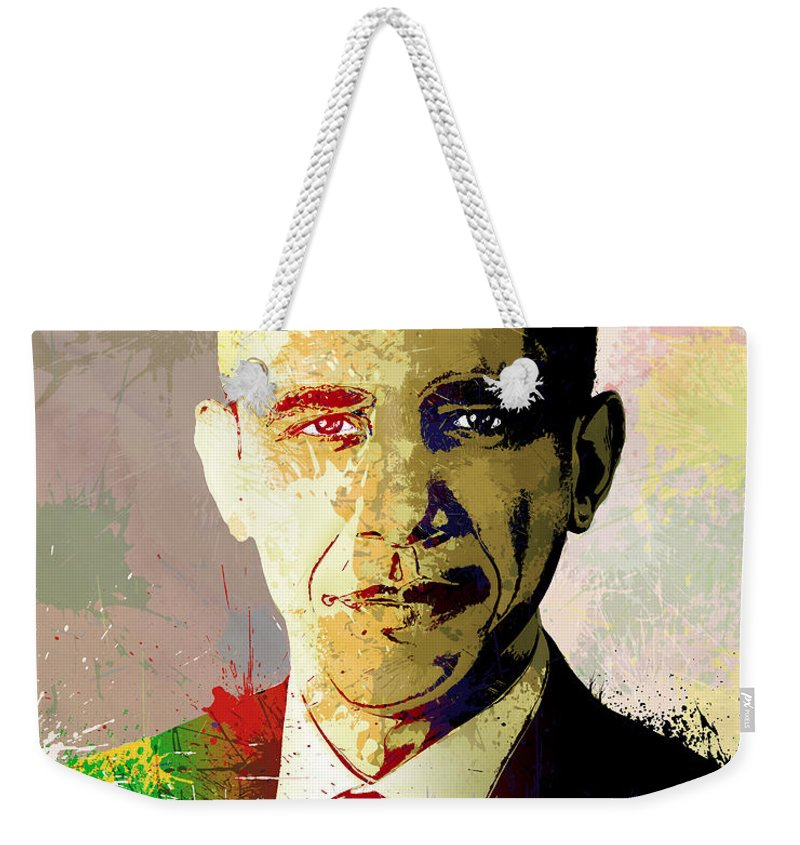Obama Weekender Tote Bag featuring the painting Barrack Obama by Anthony Mwangi