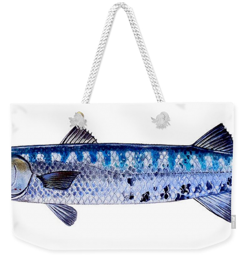 Barracuda Weekender Tote Bag featuring the painting Barracuda by Carey Chen