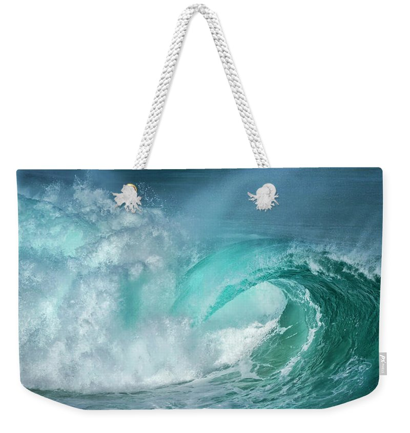 Panoramic Weekender Tote Bag featuring the photograph Barrel In The Surf by Simon Phelps Photography