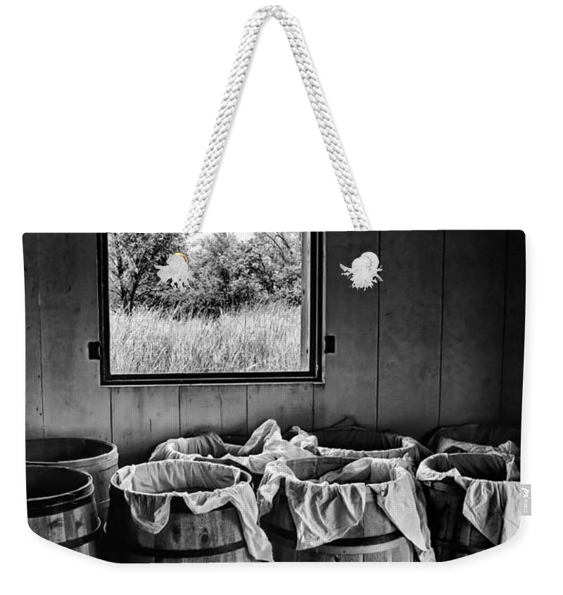 Barrel Weekender Tote Bag featuring the photograph Barrels Of Beans - Bw by Nikolyn McDonald