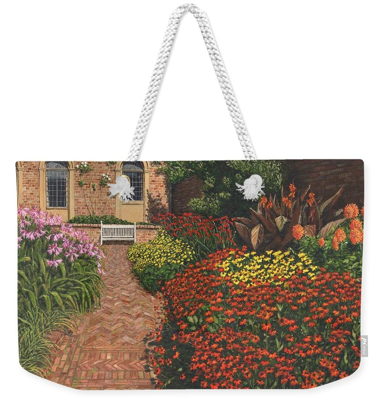 Landscape Weekender Tote Bag featuring the painting Barrington Court Gardens Somerset by Richard Harpum