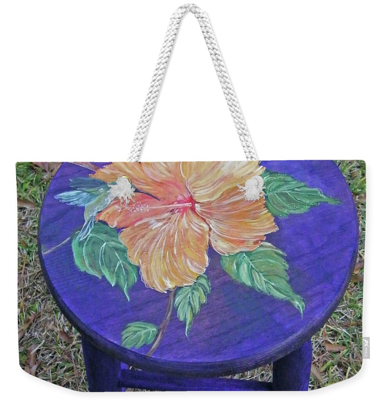 Custom Painted Barstool Weekender Tote Bag featuring the mixed media Barstool Hibiscus by Lizi Beard-Ward