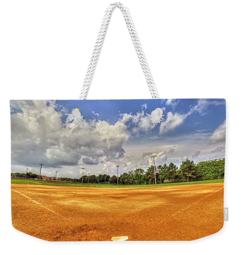 Baseball Weekender Tote Bag featuring the photograph Baseball Field by Tim Buisman