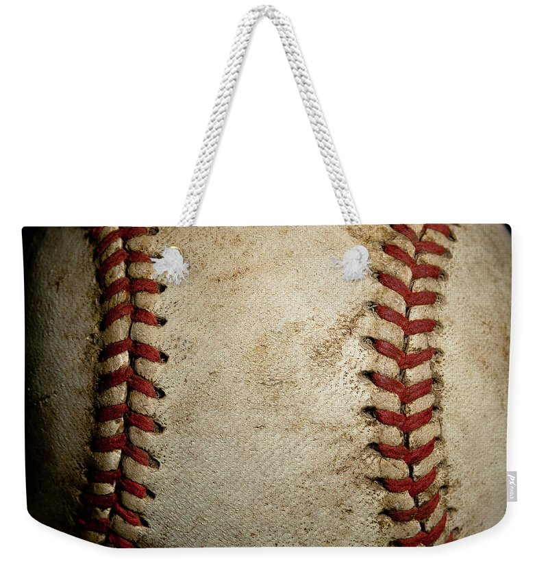 Baseball Seams Weekender Tote Bag featuring the photograph Baseball Seams by David Patterson