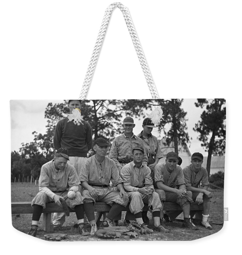 1938 Weekender Tote Bag featuring the photograph Baseball Team, 1938 by Granger