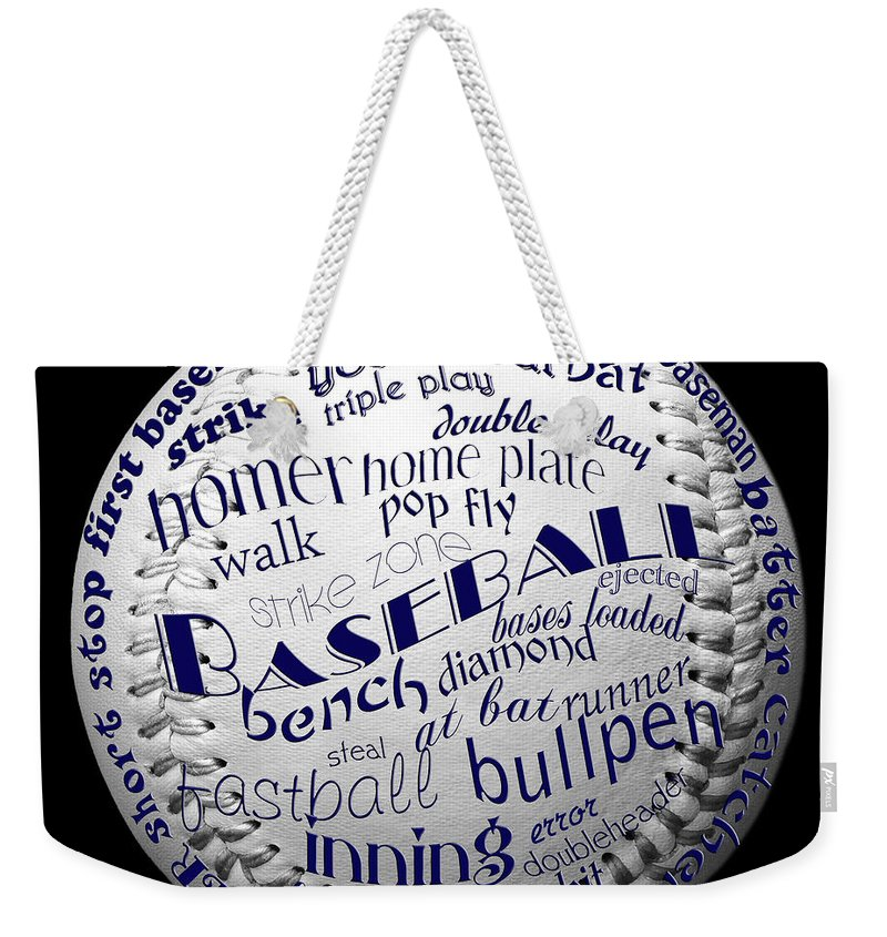 Baseball Weekender Tote Bag featuring the digital art Baseball Terms Typography 2 by Andee Design