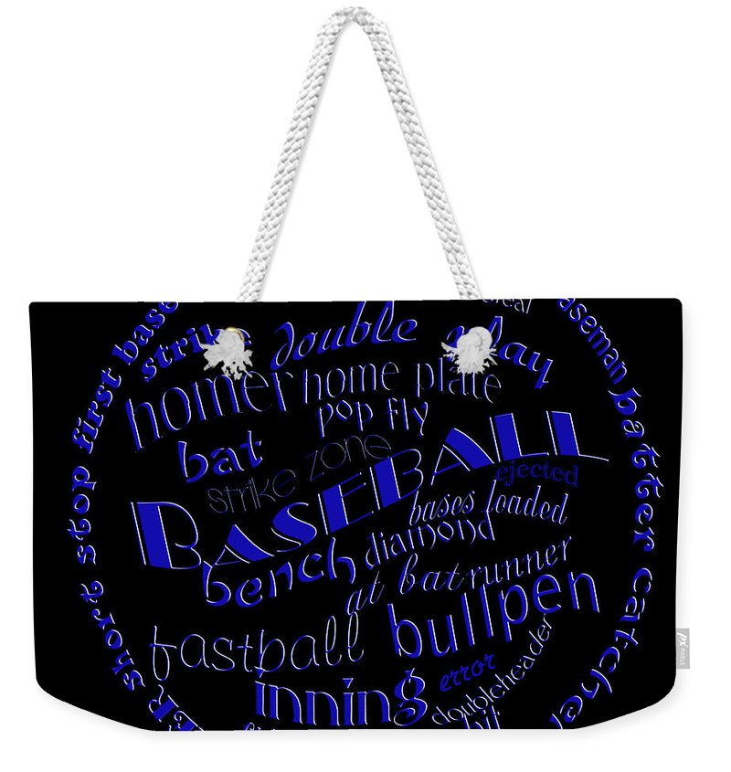 Baseball Weekender Tote Bag featuring the digital art Baseball Terms Typography Blue On Black by Andee Design