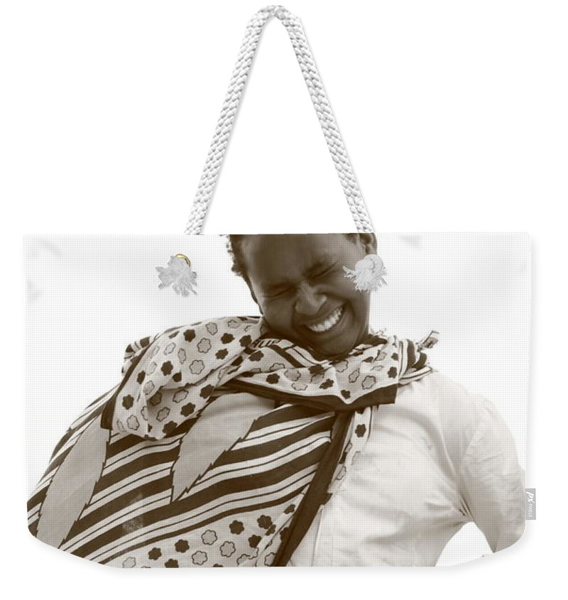 Protrait Weekender Tote Bag featuring the photograph Bashful Smile by Aidan Moran