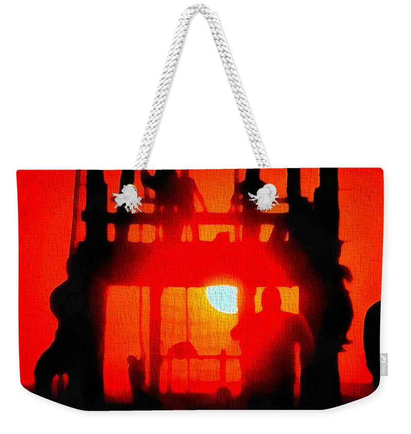 Basic Training Obstacle Course At Sunset Weekender Tote Bag featuring the painting Basic Training Obstacle Course At Sunset by Dan Sproul