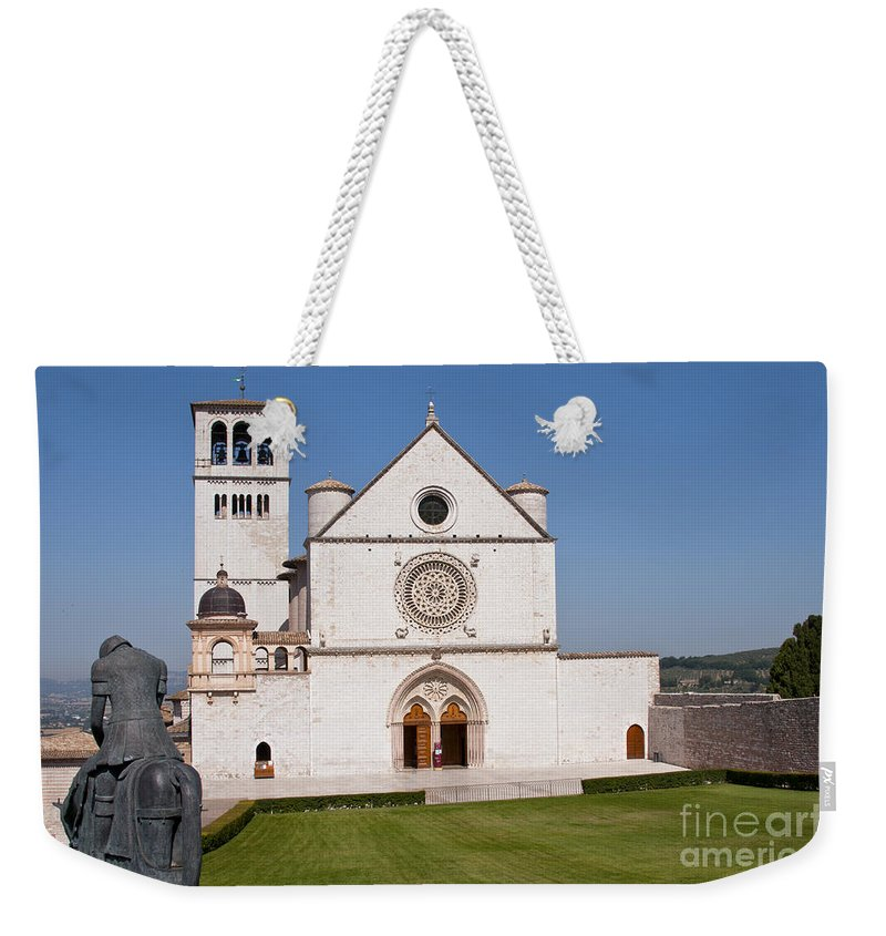 Basilica Of St. Francis Of Assisi Italy Church Churches Structure Structures Building Buildings Statue Statues Bell Tower Towers City Cities Cityscape Cityscapes Landmark Landmarks Weekender Tote Bag featuring the photograph Basilica Of St. Francis Of Assisi by Bob Phillips