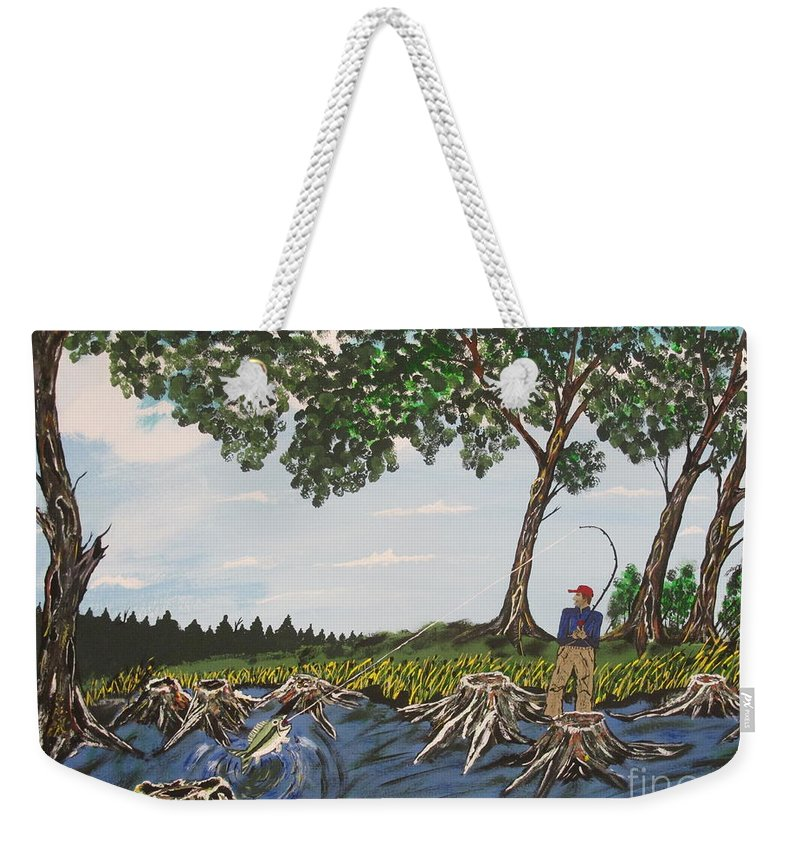 Weekender Tote Bag featuring the painting Bass Fishing In The Stumps by Jeffrey Koss