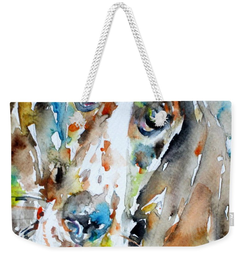 Basset Hound Weekender Tote Bag featuring the painting Basset Hound - Watercolor Portrait.1 by Fabrizio Cassetta