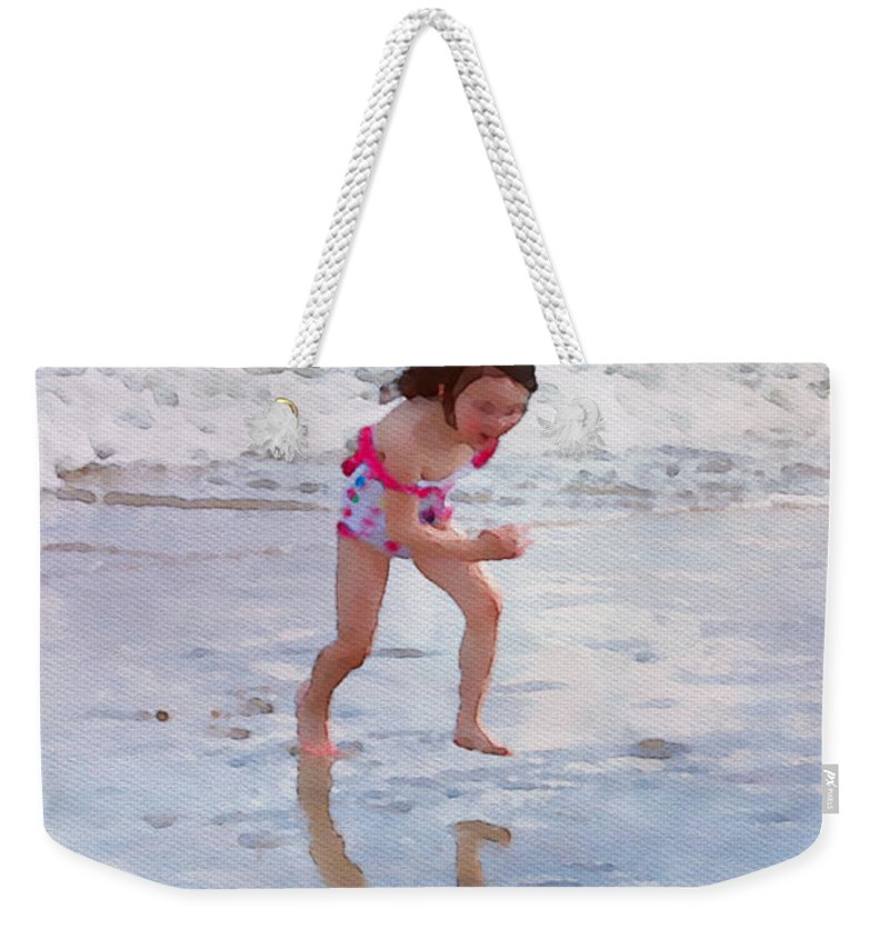 Girl Weekender Tote Bag featuring the photograph Bathing Beauty Running by Alice Gipson