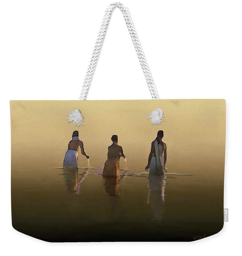 India Landscape Weekender Tote Bag featuring the painting Bathing In The Holy River By Dominique Amendola by Dominique Amendola