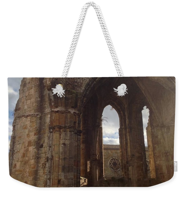 Alet-les-bains Weekender Tote Bag featuring the photograph Battered But Standing by France Art