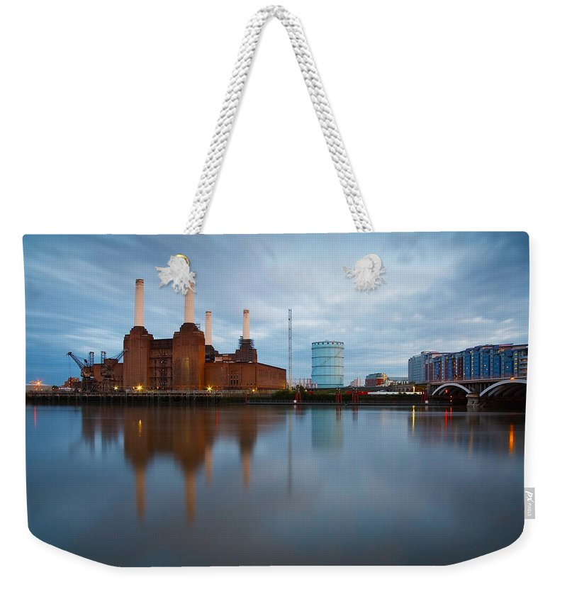 United Kingdom Weekender Tote Bag featuring the photograph Battersea Power Plant. by Milan Gonda