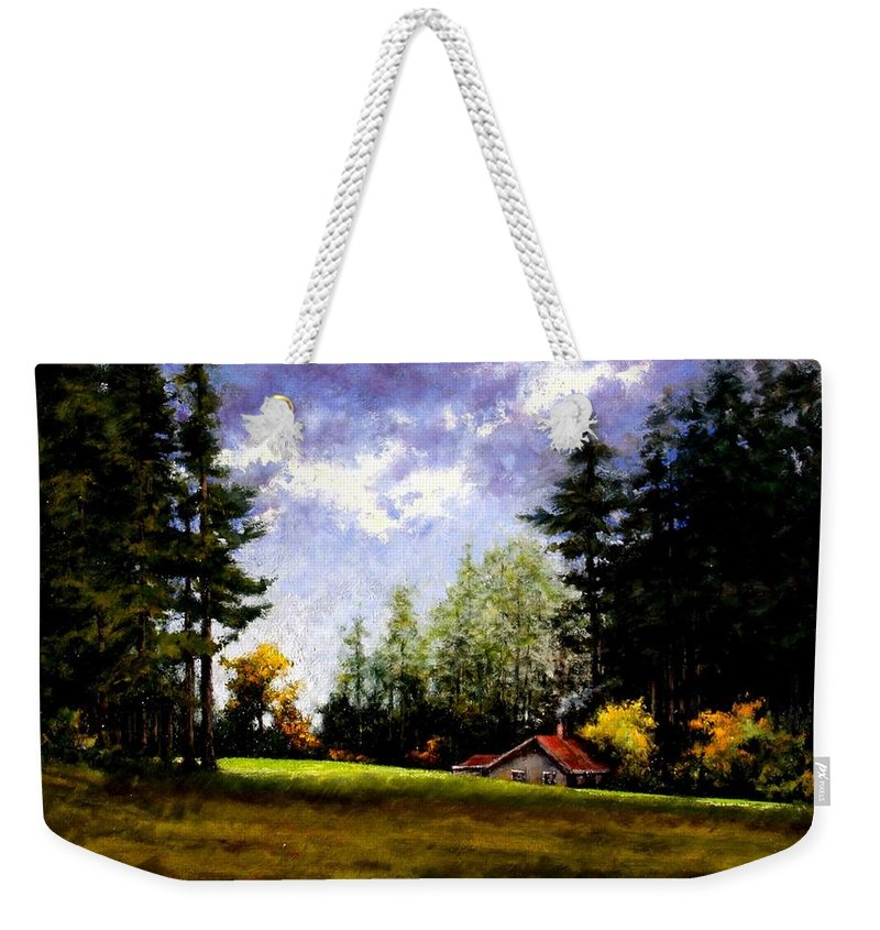 Landscape Weekender Tote Bag featuring the painting Battle Ground Park by Jim Gola
