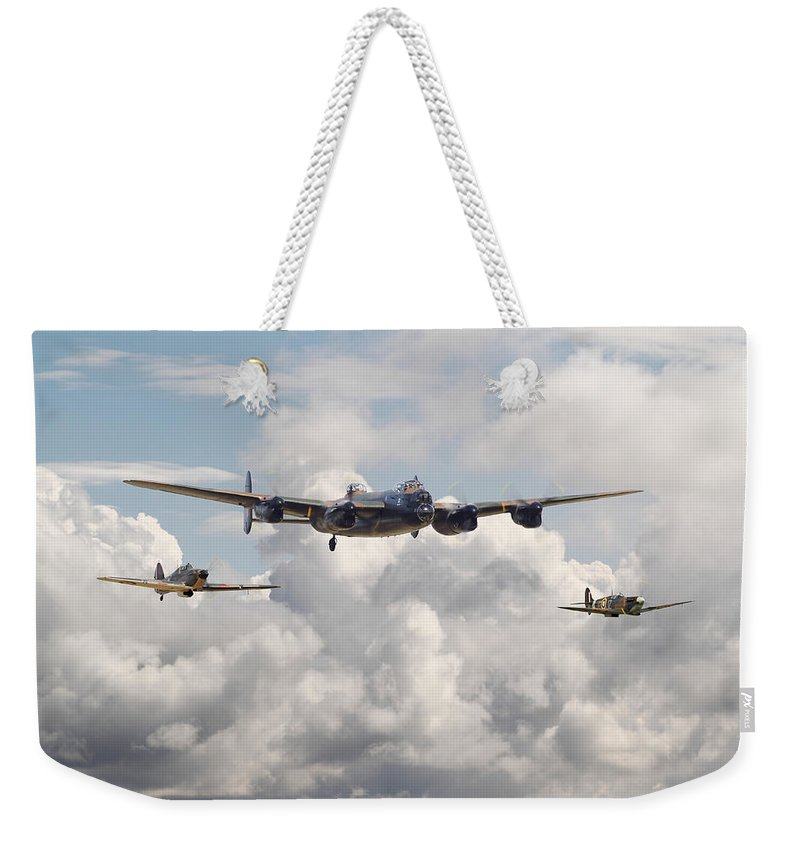 Aircraft Weekender Tote Bag featuring the digital art Battle Of Britain - Memorial Flight by Pat Speirs