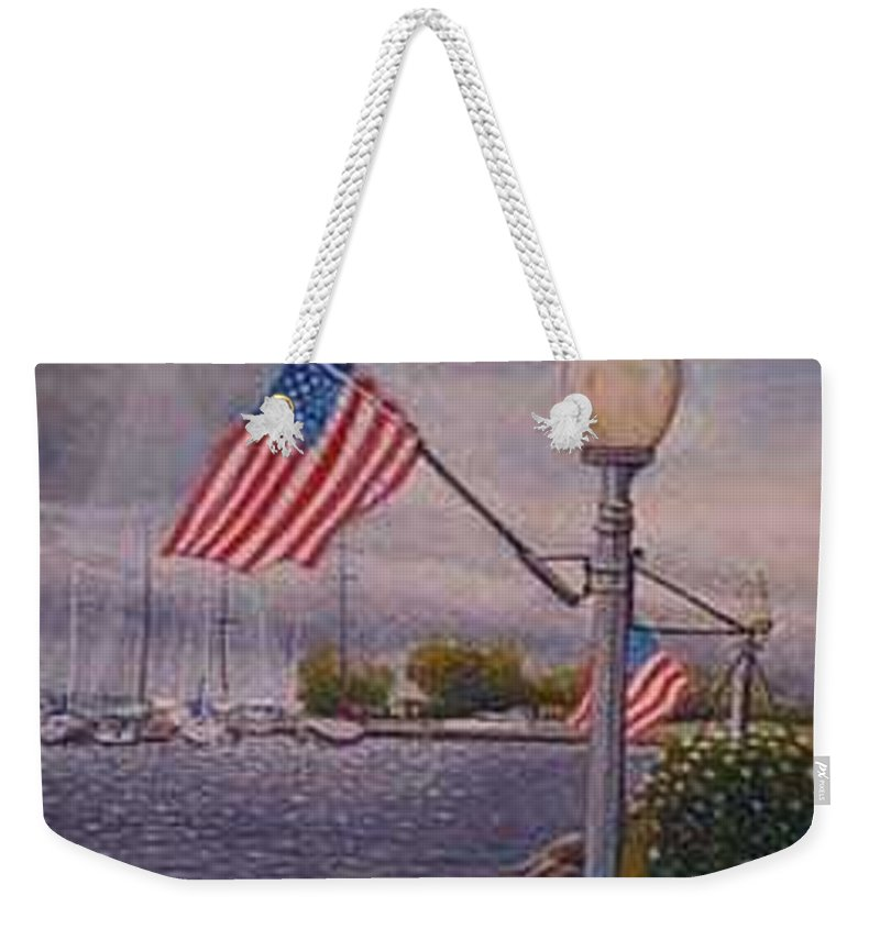 Rick Huotari Weekender Tote Bag featuring the painting Bayfield on the 4th by Rick Huotari