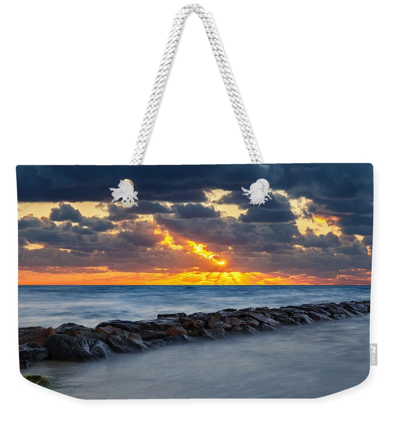 Cape Cod Sunset Weekender Tote Bag featuring the photograph Bayside Sunset by Bill Wakeley