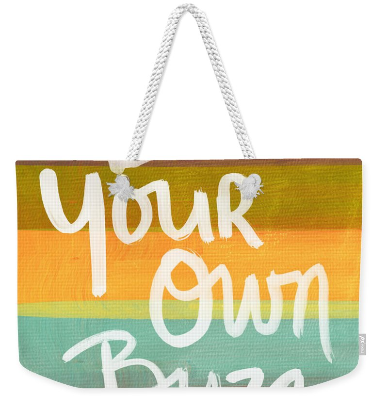 Stripes Weekender Tote Bag featuring the painting Be Your Own Buzz by Linda Woods