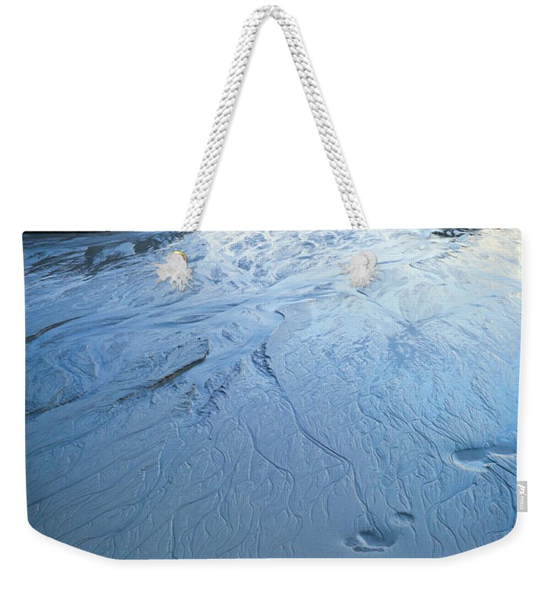 Foot Prints Weekender Tote Bag featuring the photograph Beach At Dusk by Tim Hester