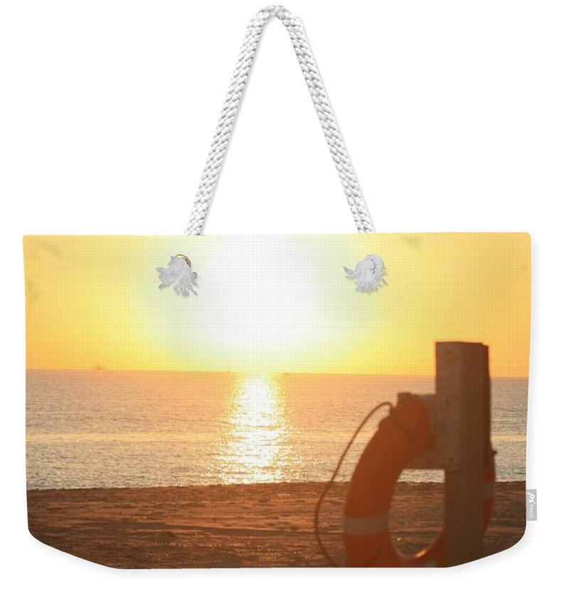 Beach Weekender Tote Bag featuring the photograph Beach At Sunset by Nadine Rippelmeyer