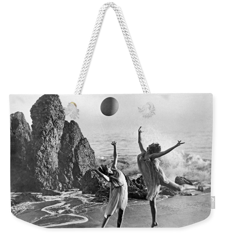 1920's Weekender Tote Bag featuring the photograph Beach Ball Dancing by Underwood Archives