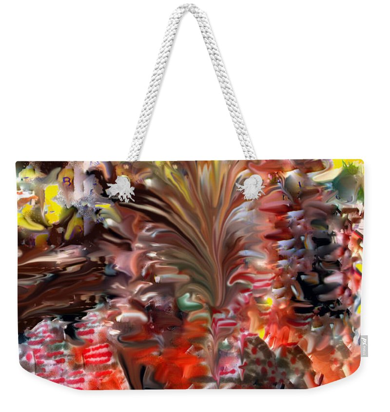 St Kitts Weekender Tote Bag featuring the digital art Beach Bar by Ian MacDonald