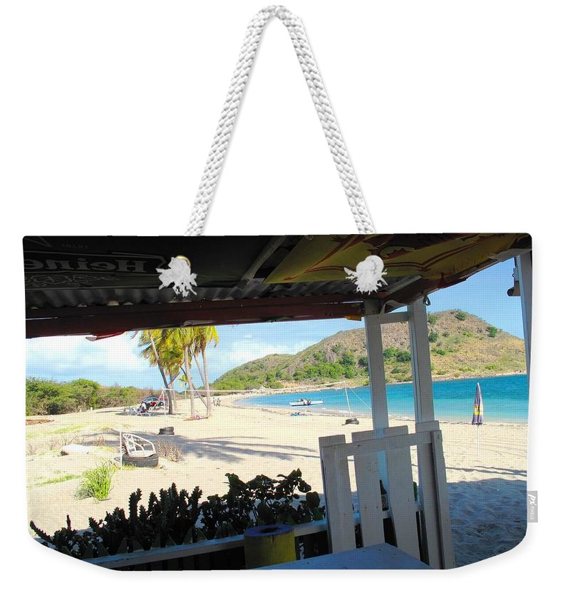 St Kitts Weekender Tote Bag featuring the photograph Beach Bar In January by Ian MacDonald