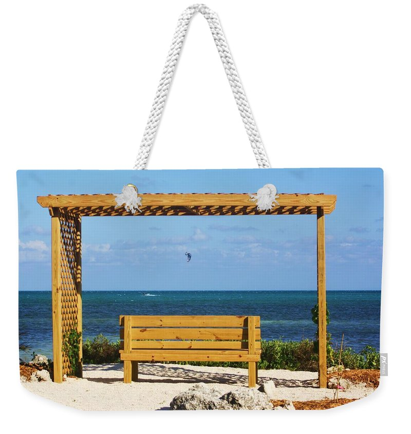 Beach Weekender Tote Bag featuring the photograph Beach Bench by Chuck Hicks
