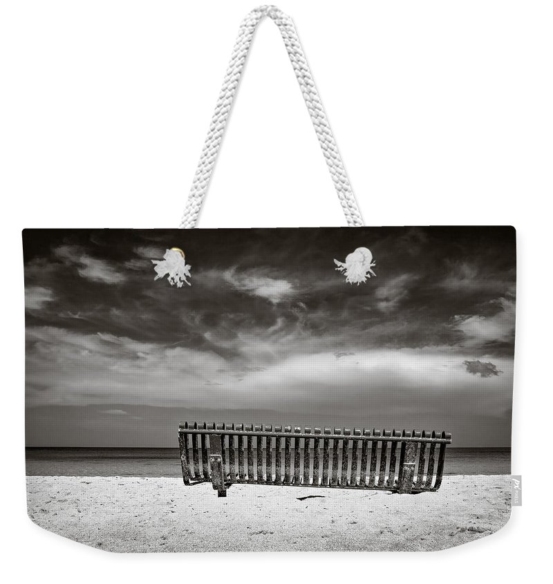 Jamaica Weekender Tote Bag featuring the photograph Beach Bench by Dave Bowman