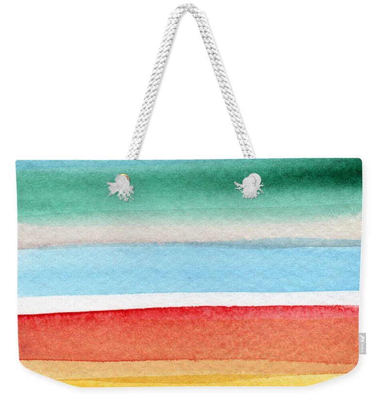Beach Landscape Painting Weekender Tote Bag featuring the painting Beach Blanket- colorful abstract painting by Linda Woods