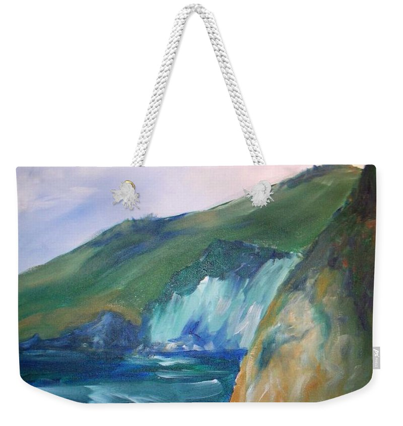 California Coast Weekender Tote Bag featuring the painting Beach California by Eric Schiabor